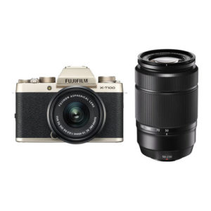 Fujifilm X T100 Camera with 15 45mm and 50 230mm Lens Kit Gold