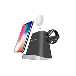 UltraProlink UM1006 Vylis Dock 10W 3 in 1 Fast Wireless Charging Dock for Apple Black